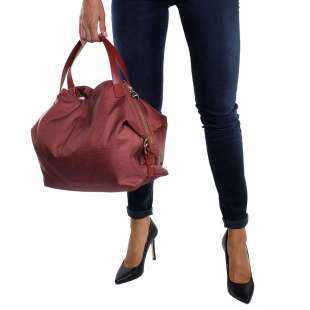 Borbonese Hobo Medium in Jet OP Burgundy 934451296T09 2