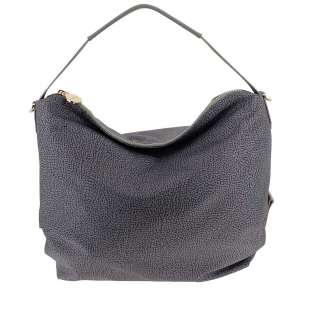 Borbonese Hobo Medium in Jet OP Grigio 934460296Q80